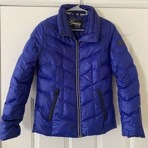 Guess down feather puffer coat; cobalt blue